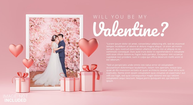 Photo frame mockup template love heart valentine wedding invitation card