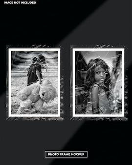 Mockup di cornice per foto con effetto plastica