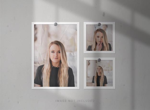 Mockup di cornici per foto con effetto carta