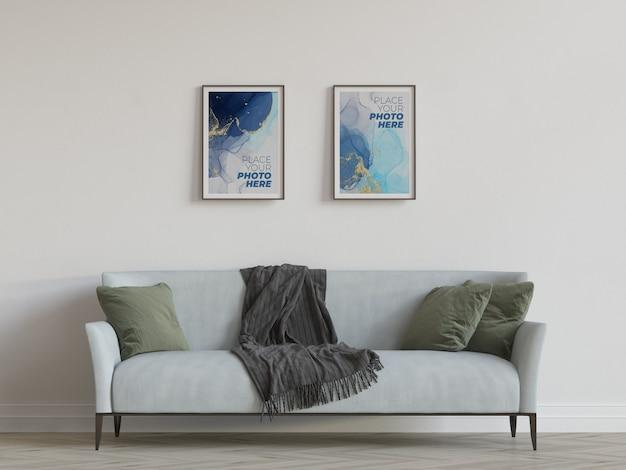 Mockup di cornici per foto in soggiorno