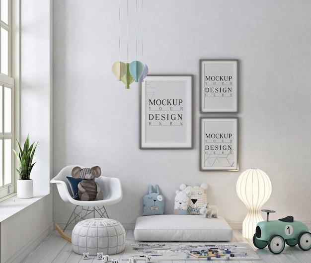 Mockup di cornici per foto in sala giochi bianca con sedia a dondolo