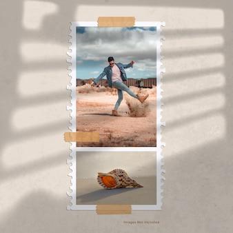 Stampa fotografica in moodboard di carta strappata a spirale