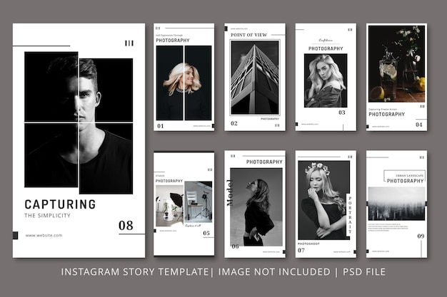 Modello grafico di storie di instagram di fotografia