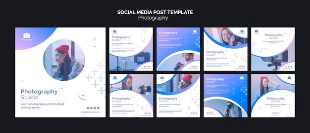 Modello di post sui social media per studio fotografico