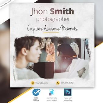 Banner pubblicitario di instagram di web di fotografia
