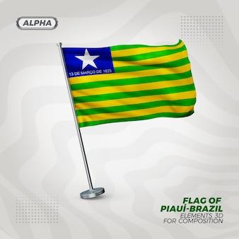 Bandiera strutturata 3d realistica di piaui