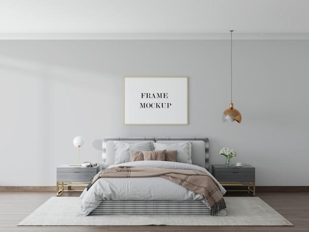 Mockup di cornice in camera da letto moderna in rendering 3d