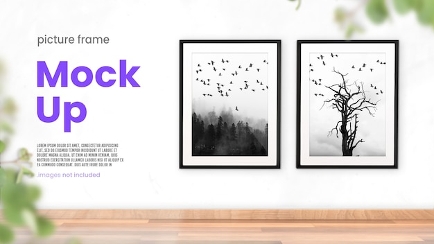 Mockup di cornici per foto di due cornici per foto in interni luminosi e moderni