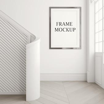 Mockup di cornice per foto sul muro bianco in rendering 3d