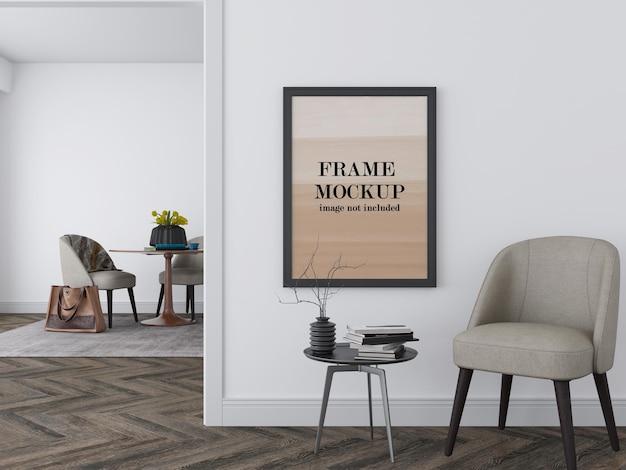 Mockup di cornice immagine sul muro bianco