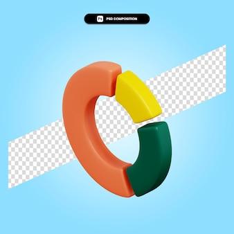 Il grafico a torta 3d rende l'illustrazione isolata
