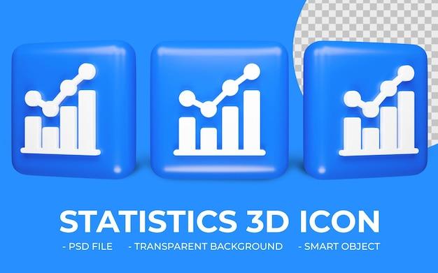 Grafico a torta o icona statistiche rendering 3d isolato