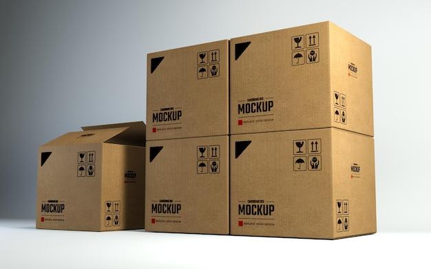Mockup di pile di scatole di cartone