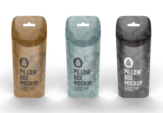 Mockup di scatola di cuscini
