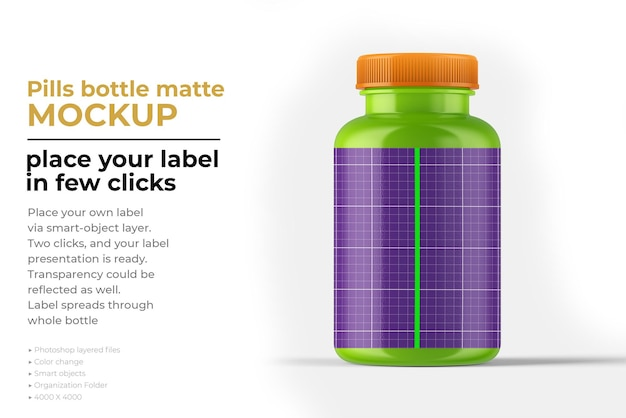 Pillole bottiglia opaca mockup design in rendering 3d