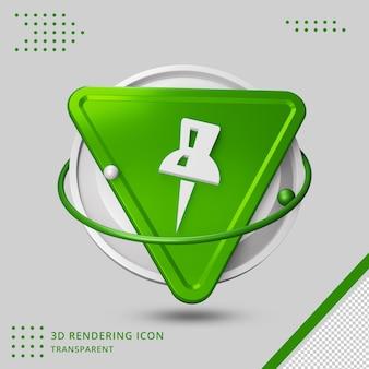 Icona della puntina nel rendering 3d 3