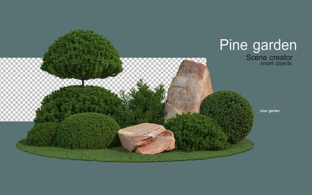 Pini e formazioni rocciose di varie forme