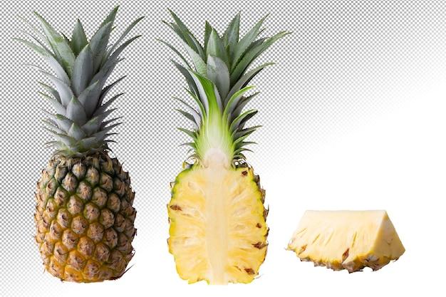 Frutta di ananas e fette di ananas isolate