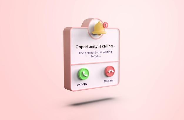 Mockup di interfaccia di chiamata 3d rosa