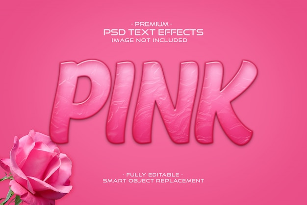 Effetto di testo 3d rosa