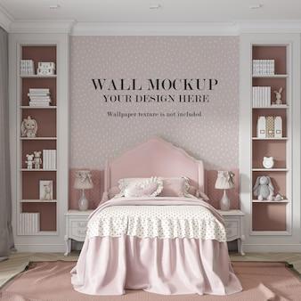 Mockup di parete camera da letto rosa con mobili minimalisti
