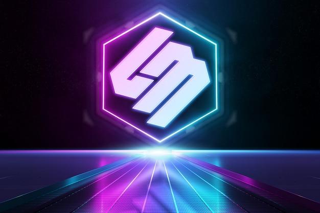 Logo mockup con luce al neon riflettente rosa e blu
