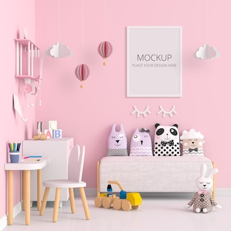 Stanza dei bambini rosa con mockup di cornice