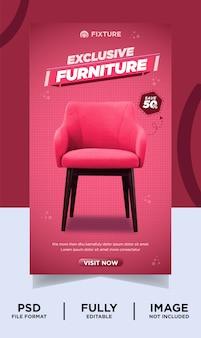 Banner di instagram per prodotto esclusivo con mobili di colore rosa sfumato