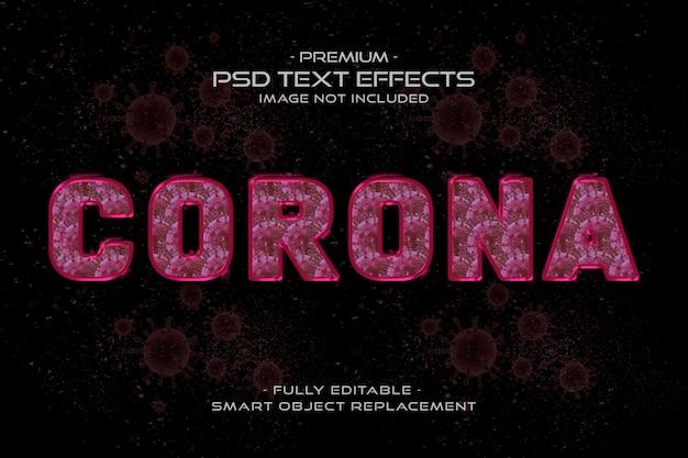 Effetto stile testo corona rosa virus