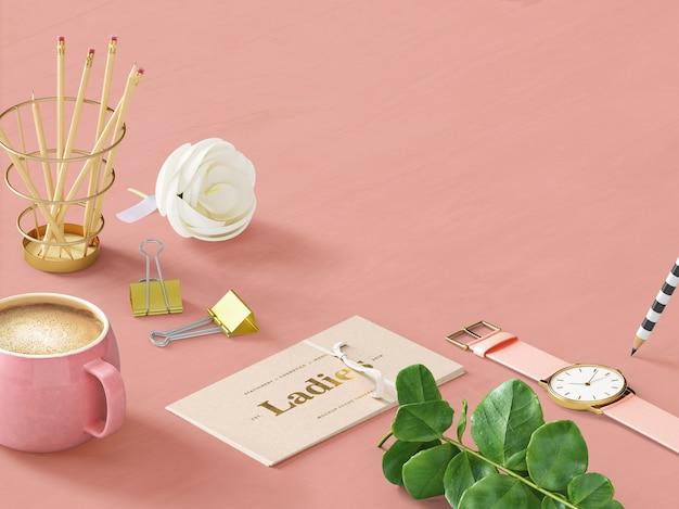 Mockup di scena personalizzata femminile rosa