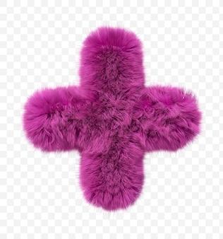Alfabeto pelliccia rosa segno più peloso isolato