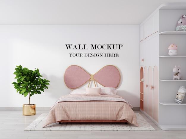 Il mockup 3d della parete della camera da letto delle ragazze rosa rende