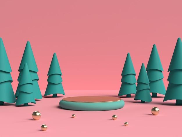 Rendering 3d rosa e verde del podio di forma della geometria della scena astratta per la visualizzazione del prodotto