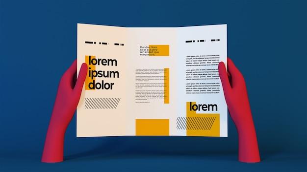 Mani rosa che mostrano il modello di brochure a tre ante