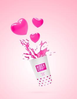 Mockup pubblicitario di schizzi di latte rosa