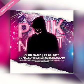 Volantino festa di notte rosa