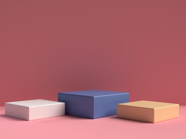 Supporto pastello rosa del prodotto su fondo. concetto di geometria minima astratta. rendering 3d