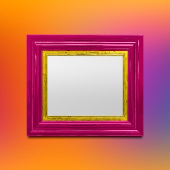 Mockup di cornice per foto rosa
