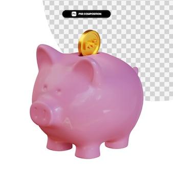 Porcellino salvadanaio rosa con la rappresentazione della moneta 3d della corona isolata
