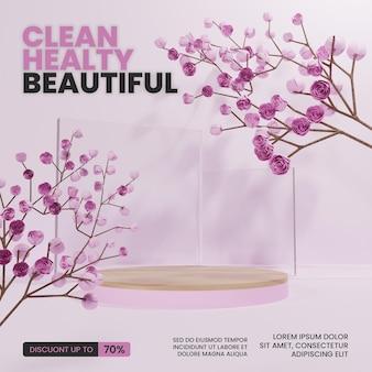 Podio rosa con albero in fiore di ciliegio
