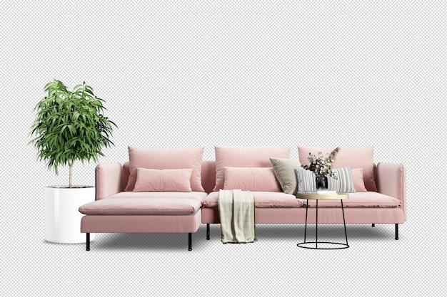 Divano rosa e pianta nella rappresentazione 3d