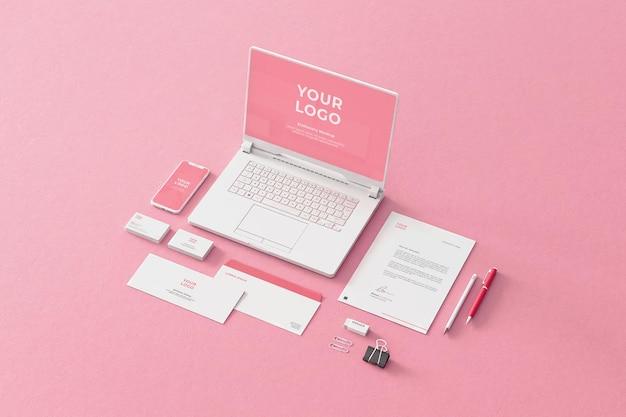 Società di affari di mockup di cancelleria rosa