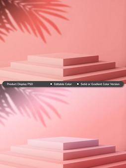 Concetto di composizione del display del prodotto a piramide in tinta unita o sfumatura estiva rosa