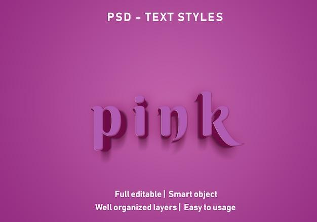 Psd modificabile in stile effetti di testo rosa
