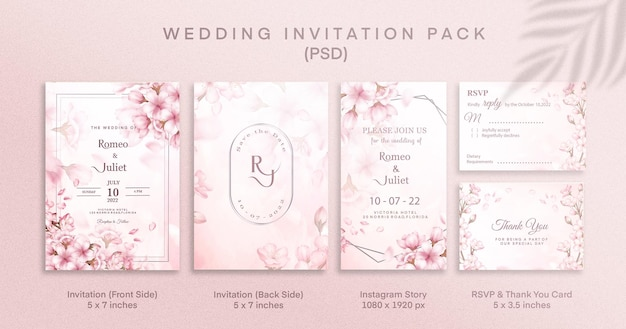 Pacchetto di inviti di nozze rosa con rsvp grazie e storia di instagram