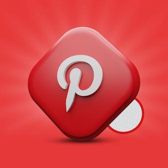 Rendering dell'icona 3d di pinterest