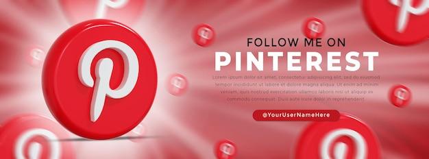Pinterest logo lucido e icone social media banner web