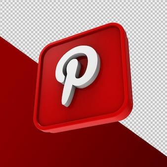 Pinterest icona 3d rendering isolato