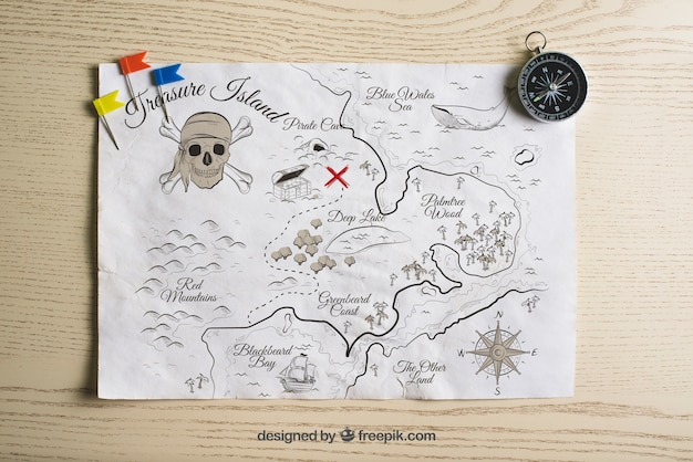 Concetto di mappa dei tesori del pirata