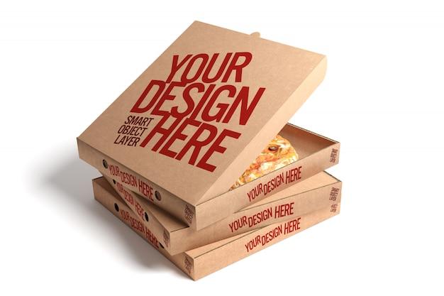 Derisione della scatola della pizza su isolata